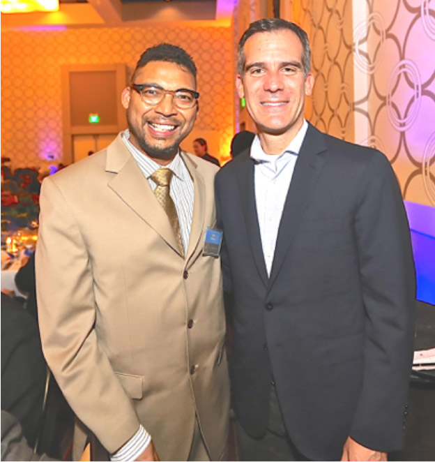 Chef Mick Brown meets Los Angeles Mayor Eric Garcetti at Retirement party for Charley Mimms in February 2015.